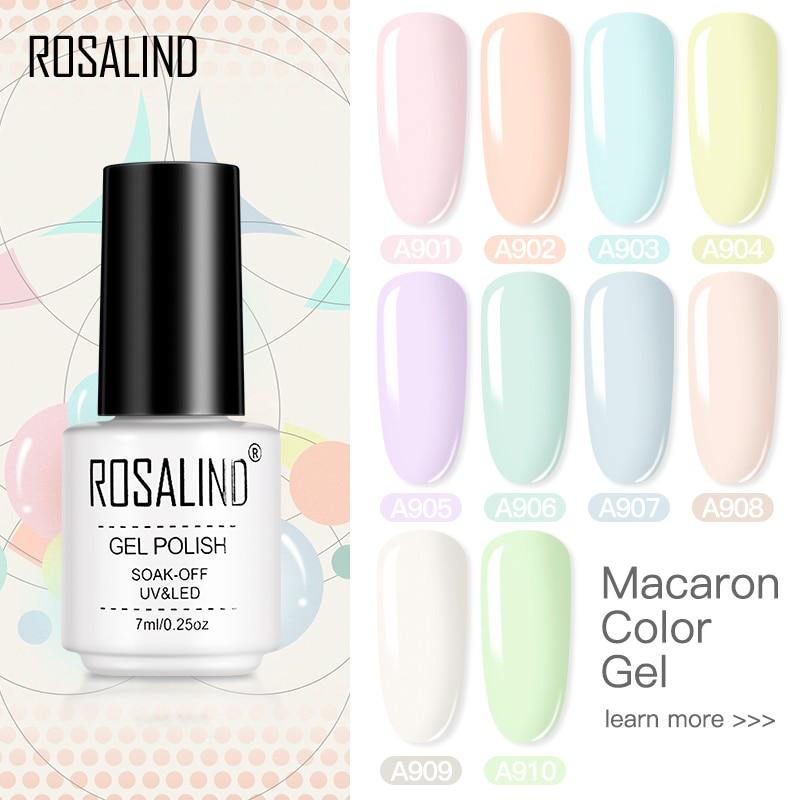 Гель-лак макарун ROSALIND, гибридный лак для маникюра, Полупостоянный Гель-лак для ногтей, база, матовое верхнее покрытие