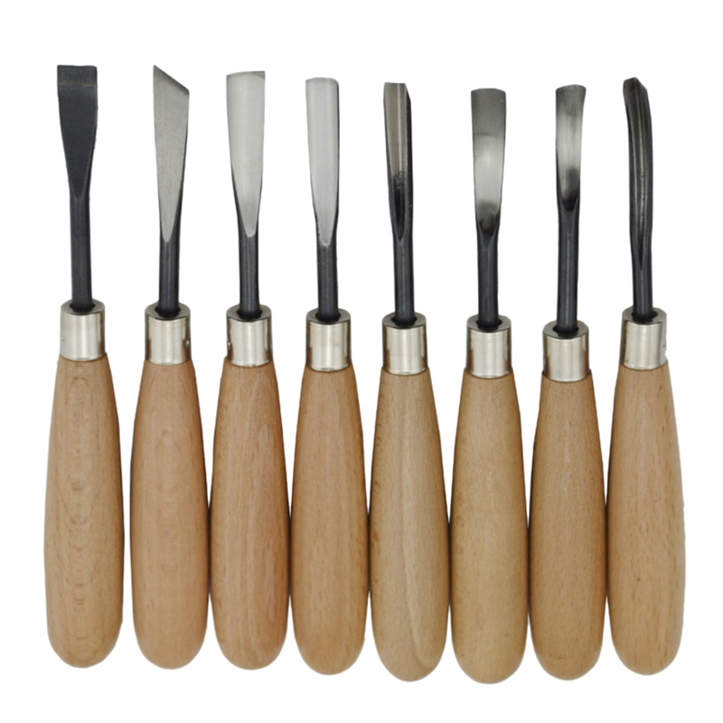 8Pcs Hand Wood Carving Knife Tools Chip Detail Chisel Set Tool For Woodworking