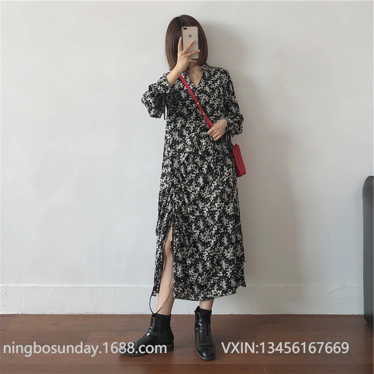19 Winter/Small Flower On Black Background Chiffon Dress Women's Fashionable Retro High-waisted Slit Underwear Base Long Skirts