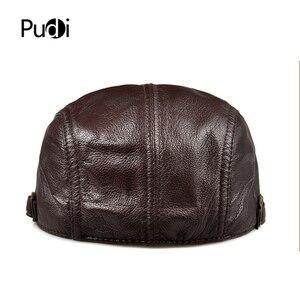 Image 3 - Pudi mens real leather baseball cap hat 2019 fashion new style soft leather beret belt trucker caps Crocodile Grain  HL007
