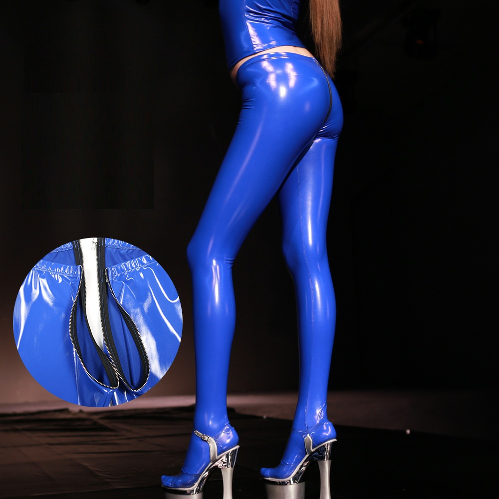 PVC Shiny Sexy Faux Leather Zipper Open U Crotch Pencil Pants Tight Gothic Plus Size Pencil Hot Pants Capris Club Dance Wear