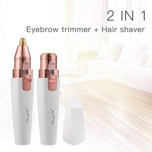 Электрический триммер для бровей 2 в 1, Машинка для удаления волос на лице, светодиодный светильник, перезаряжаемый, безболезненный триммер ...