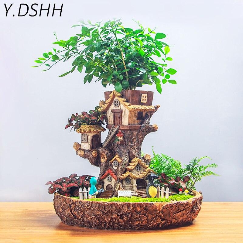 Y. DSHH цветочный горшок плантатор мечты Лес Дерево дом Декор горшки для влагозапасающего растения балкон стол настольные украшения