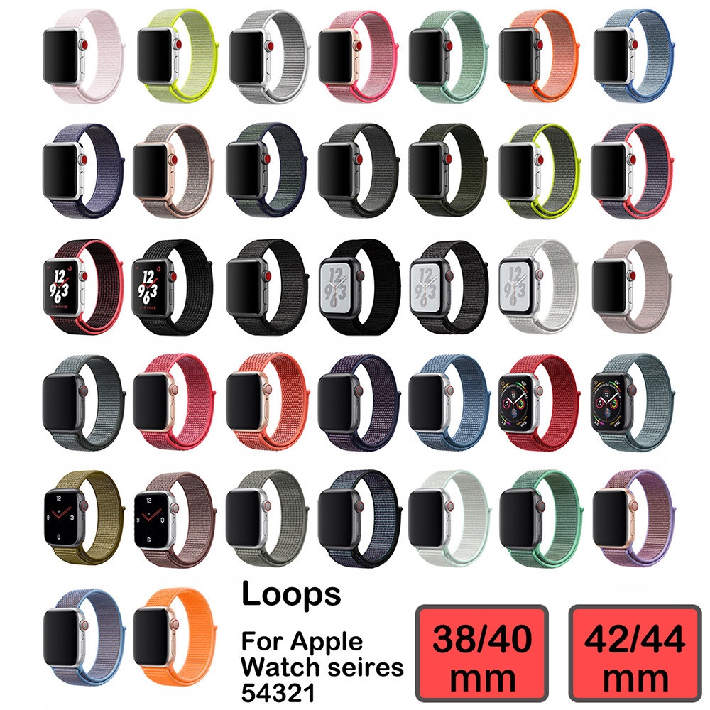 Nylon 2 Braided Belt Sport Loop Band For Apple Watch Series 54321 38/40mm 42/44mm