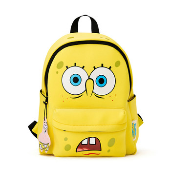 New arrival cartoon spongebob pattern backpacks for kids casual double shoulder travel bag cool movie characters bookbag mochila