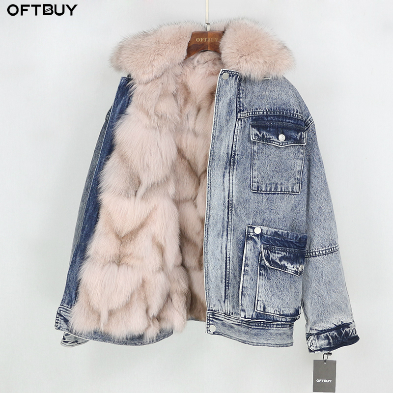OFTBUY 2019 Denim Parka Real Fur Coat Winter Jacket Women Natural Fox Fur Collar And Liner Loose Outerwear Vintage Old Fashion
