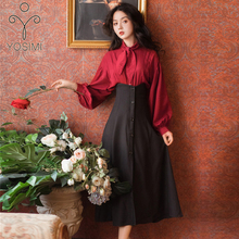 YOSIMI Women Skirt and Top Set Vintage Full Sleeve Red Wine