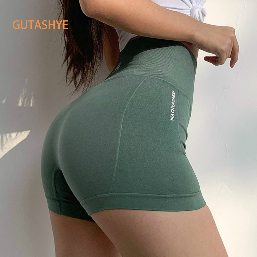 GUTASHYE High Waist Seamless Gym Shorts Fitness Yoga Short Scrunch Butt Yoga Shorts Spandex Pink Short Workout Legging
