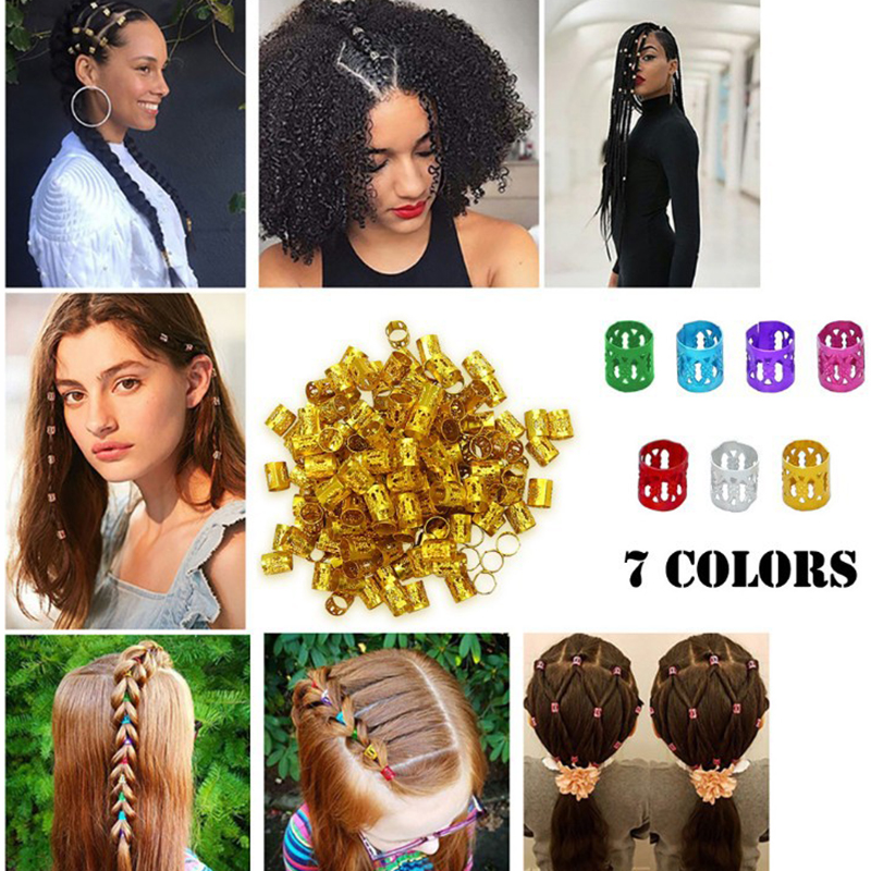100Pcs/Lot Dreadlock Beads For Braids Hair Beads For Dreadlocks Hair Metal Tube Ring Adjustable Hair Braid Cuff Clips Accessory