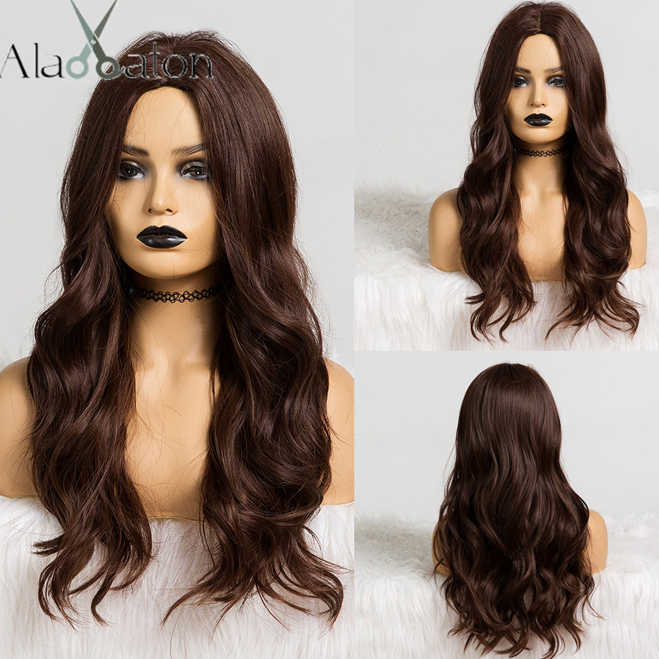 ALAN EATON Long Dark Brown Wavy Wigs Cosplay Natural Synthetic Wigs For Black Women Heat Resistant Hair Wigs Middle Part 24''