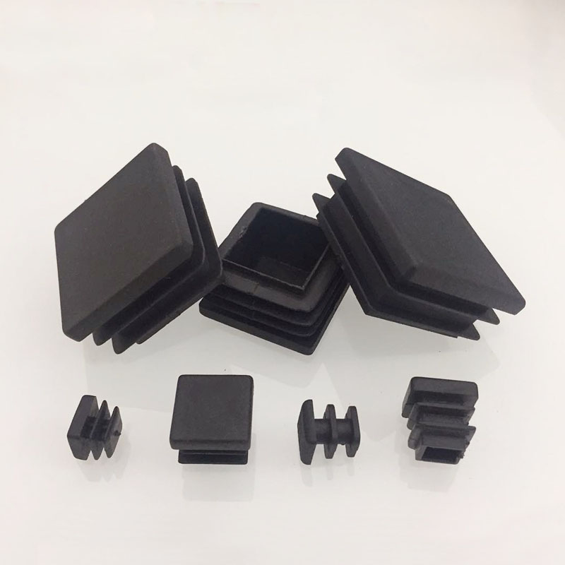 80pcs Black Plastic Blanking End Caps Square Pipe Tube Cap Insert Plugs Bung For Furniture Tables  Chairs Protector