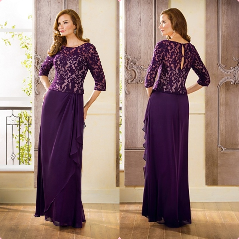Appliques Three Quarter Sleeves Purple Chiffon Lace Mother Of The Bride Plus Dresses 2015 Plus Size Mother Gowns J175054
