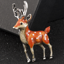 Fashion Lovely Sika Deer Animal Brooch Pin Enamel Wedding Costume Jewelry Gifts Brooches for Women Broszka Accesorios Mujer