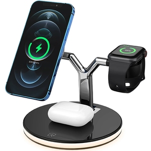 Image 1 - 3 in 1  15W Fast Charging Station Magnetic Wireless Charger for Magsafe iPhone 12 pro Max Chargers for Apple Watch Airpods pro