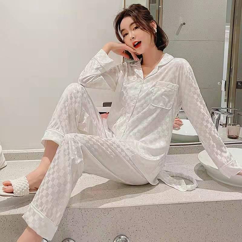 2021 nouveau Pyjamas le Long des manches vêtements de nuit automne glace soie à manches longues pantalon costume femmes vêtements de nuit blanc plaid Pyjamas ensemble