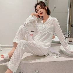 2021 New Pajamas ALong Sleeve Sleepwear Autumn Ice Silk Long Sleeve Trousers Suit women's nightwear White plaid Pyjamas Set