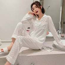 2021 New Pajamas Spring / Summer Sleepwear Autumn Ice Silk Long Sleeve Trousers Suit women's nightwear White plaid Pyjamas Set