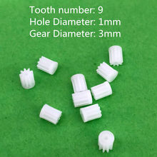 10pcs/lot 91A Mini Plastic Motor Shaft Gear Sets 9 Tooth 1mm Hole Diameter DIY Helicopter Robot Parts Free Shipping Russia(China)