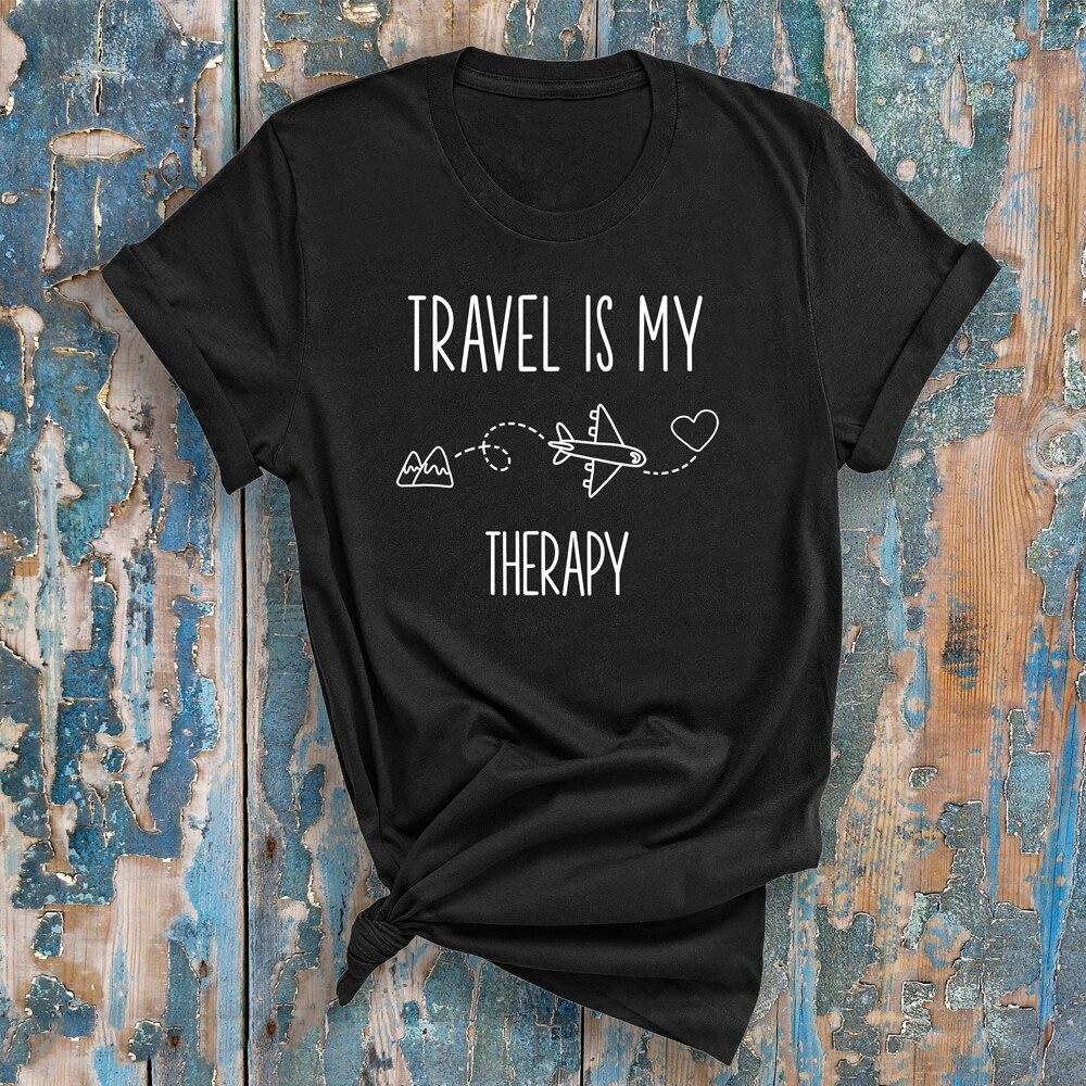 Женская Повседневная футболка Travel Is My Therapy, летняя уличная футболка унисекс с графическим режимом полета, 90s