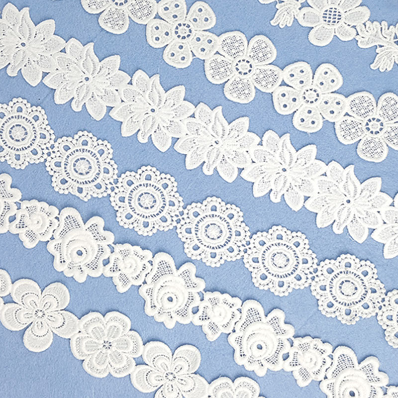 7yard/lot NEW Embroidered White Beige Flower Lace Fabric Dubai Sewing DIY Trim Applique Ribbon Cord Collar Dress Guipure Decor