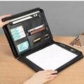 Бизнес A4 кожаные папки Сумка для документов портфель padfolio файл папка A4 Органайзер с молнией пополнения блокнот