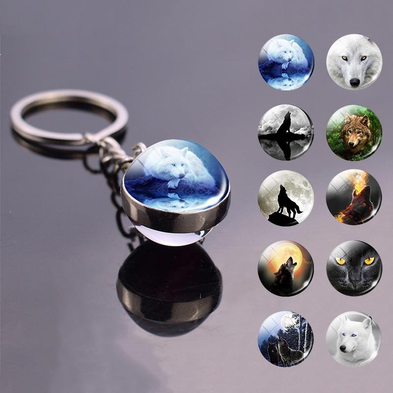 Cool Wolf Key Chain Key Rings Holder Wolf Head Keychain Creative Handmade Glass Ball Keychain Pendant Men Jewelry Gift