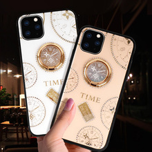 Glitter Glass Phone Case for Iphone 11 Pro XS MAX XR X 8 7 PLUS 6 6S Luxury Clock Cover 360 Degree Metal Ring Holder