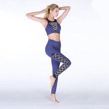 2019 Nova Primavera Terno da senhora Meninas Sexy Malha Corda Exercício de Design de Roupas de Fitness