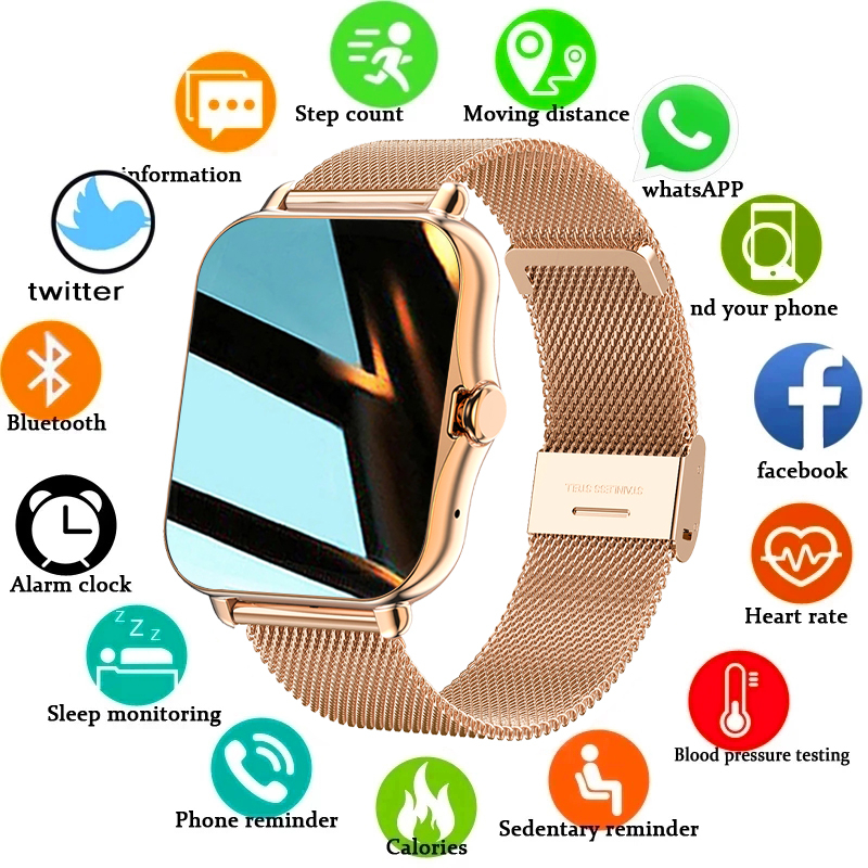 Permalink to 2021 New Color Screen Smart watch Ladies men Full touch fitness tracker Blood pressure smart clock ladies smart watch+Box