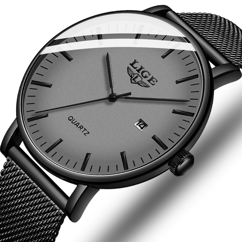Relogio Masculino 2020 LIGE Fashion Casual Mens Watches Top Luxury Ultra Thin Waterproof Stainless Steel Mesh Band Quartz Watch