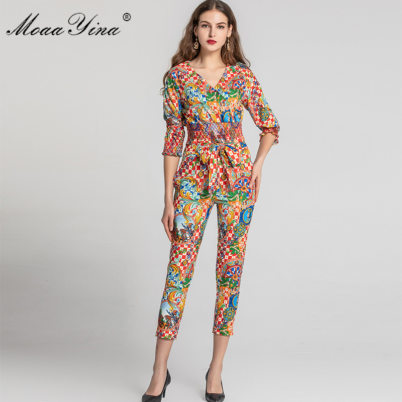 MoaaYina Fashion Designer Set Spring Summer Women V neck Vintage 
