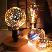 3D E27 LED Bulb 220V LED Lamp Star ST64 G95 G125 Edison Bulb Retro Firework Novelty Light LED Light Edison Lamp Party Decor Lamp