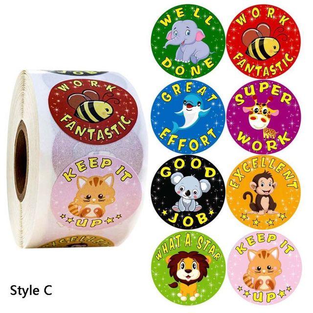 500pcs/roll Animale Del Fumetto Ricompensa Adesivi Diario Scrapbooking Insegnante di Incentivazione E15B