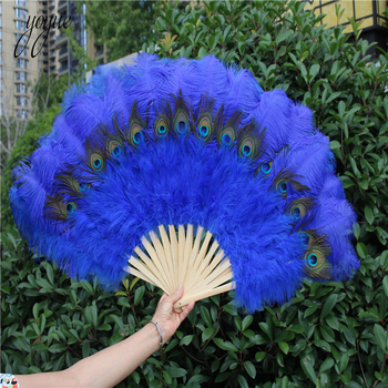 Feathers For Crafts | YOYUE 1pcs High Quality Orange Ostrich Feather Fan Halloween Party Celebration Performance Crafts Props DIY Peacock Feather Fan