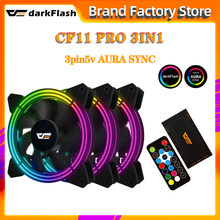 DarkFlash – ventilateur RGB CF11 Pro, 120mm, Double halo, 3P5v, synchronisation AURA, vitesse réglable, silencieux, télécommande IR, refroidissement, PC, ventilateur de tour d'ordinateur