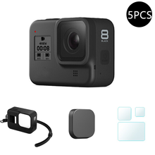 Protective Silicone Case for GoPro Hero 8 Black Tempered Glass Screen Protector Film Lens Cap Cover for Go Pro 8 Accessory(China)