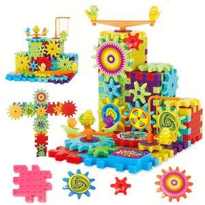 3WBOX 81 шт., электрические шестерни, 3D модели, строительные наборы, пластиковые кирпичные блоки, развивающие игрушки для детей, детские рождест...