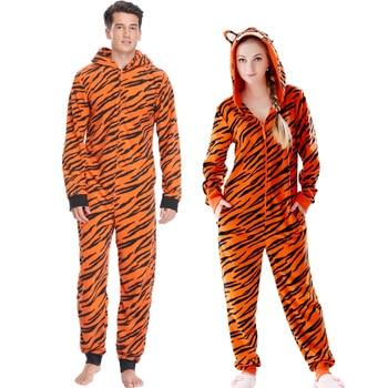Pijama de talla grande con estampado de tigre para mujer, Peto de...