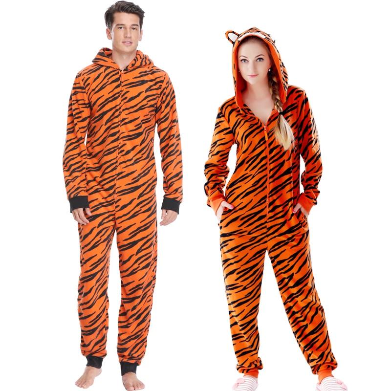 Plus velikost Fleece Tiger Pyžama Ženy Stitch Onesie Zvířecí kostýmy Kombinézy Pár Coverall Pyžamo Onesie Pro dospělé Kingurumi