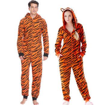 Plus Size Fleece Tiger Pyjamas Women Stitch Onesie Animal Costumes Jumpsuits Couple Coverall Pajamas Onesie For Adult Kingurumi - DISCOUNT ITEM  52% OFF All Category