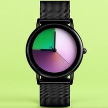 Fashion Mood Color Rainbow Quartz Wristwatch Creative Women Dress Watch