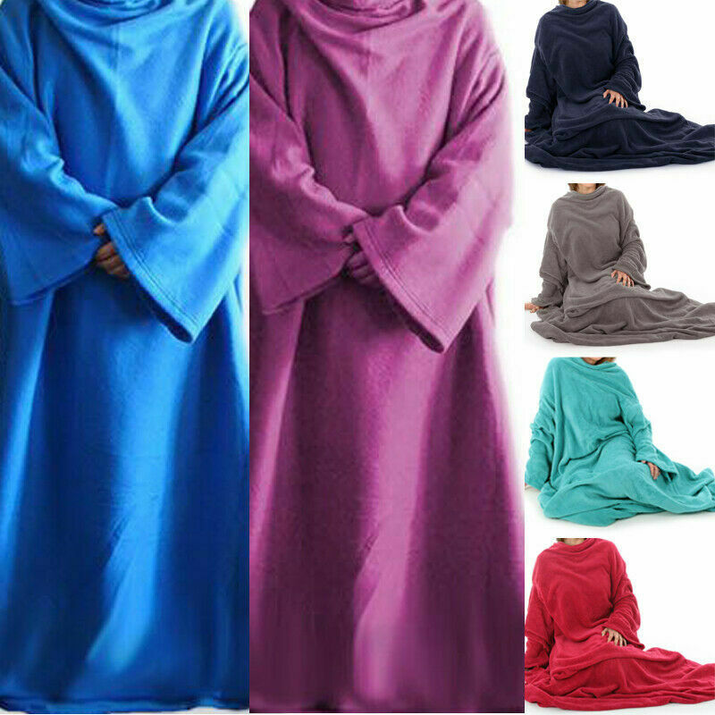 Useful Lazy Home Blanket Women Men Warm Soft Coral Fleece Cuddle Snuggle Blanket With Sleeves Blankets Blankets