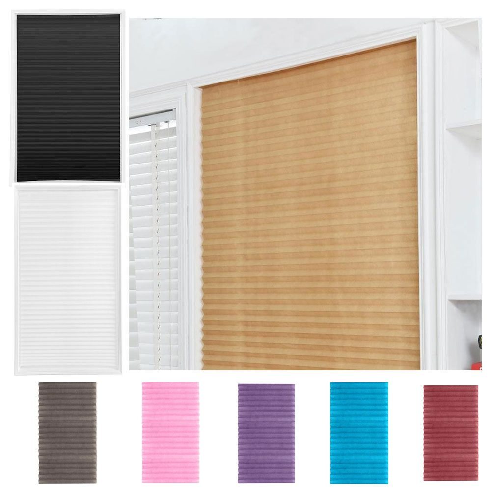 Self-adhesive Pleated Blinds Half Blackout Windows Curtains Bathroom Balcony Shades For Home Window Door
