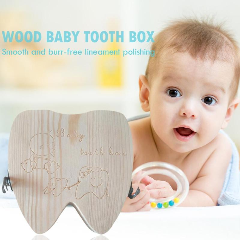 Wood Baby Milk Tooth Box Kid Umbilical Lanugo Keepsakes Storage Case English-Typ Recommended Usage Age For 0-6 Years