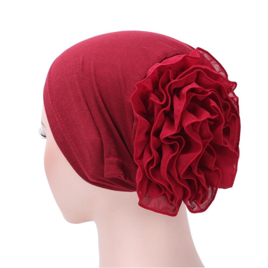 2020 New Fashion Solid Color Muslim Turban Hijab Caps Cotton Chiffon Flowers Arab Wrap Inner Hijabs Bonnet Islamic Headdress