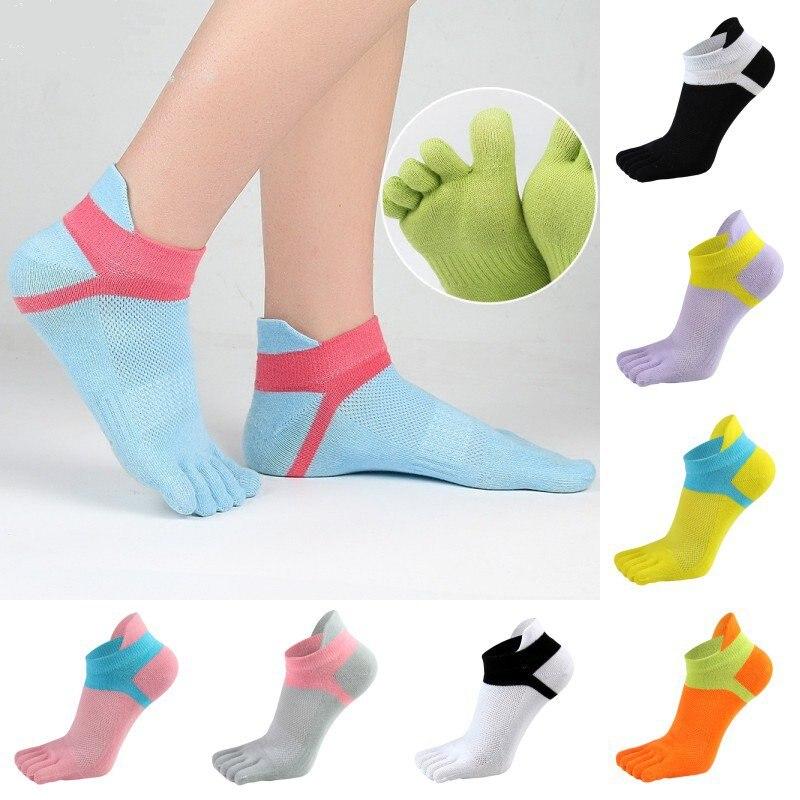 Women's Yoga Sports Running Socks Comfortable Five-finger Socks Stitching Color Breathable Five-finger Socks W1