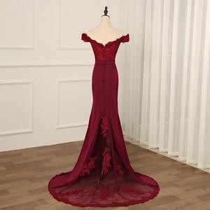 Image 2 - Сексуальное бордовое вечернее платье Jiayigong, Длинные вечерние платья с открытой спиной, кружевное платье Русалка с бисером для невесты