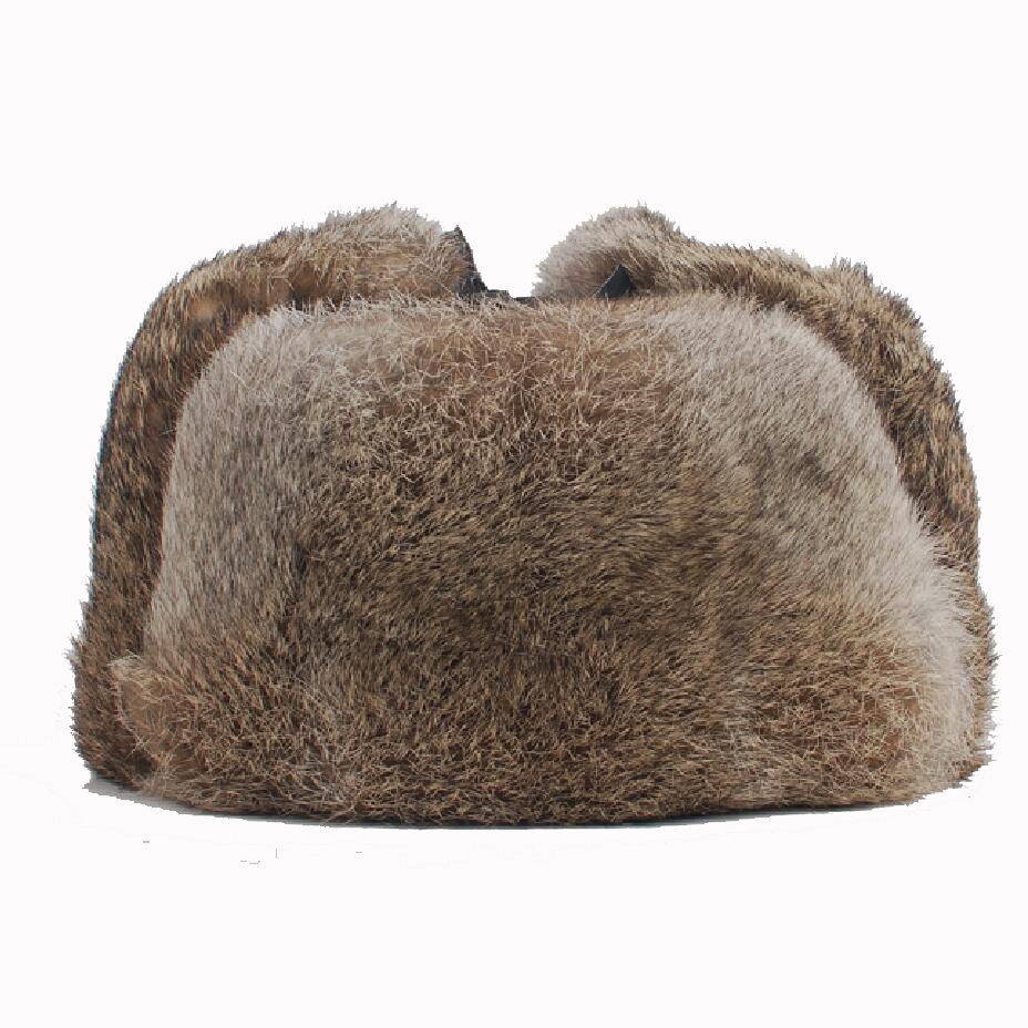 High Quality Mens 100% Real Rabbit Fur Winter Hats Lei Feng Hat With Ear Flaps  Warm Snow Caps Russian Hat Bomber Cap