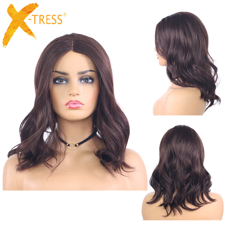 Medium Brown Synthetic Lace Part Wigs For Women X-TRESS Natural Wave Shoulder Length Ombre Color Heat Resistant Fiber Hair Wigs