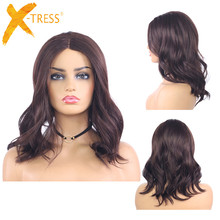 Medium Brown Synthetic Lace Part Wigs For Women X-TRESS Natu